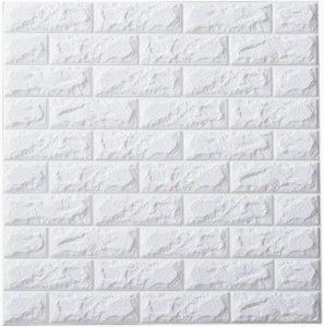 売れる商品⑨:3Dウォールステッカー 壁紙シール 70cm×77cm (白レンガ / 10枚セット)